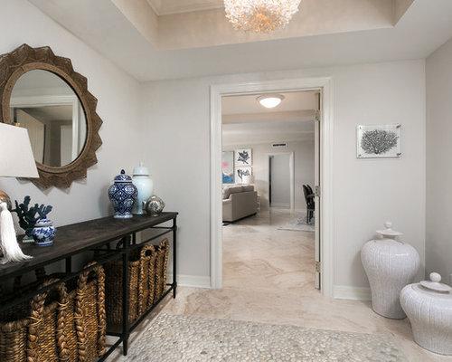 Travertine Foyer Design : Tropical foyer design ideas renovations photos with