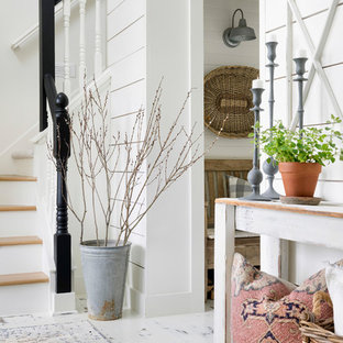 Country painted wood floor and white floor front door photo in Minneapolis with white walls