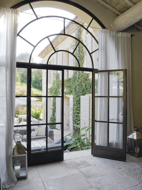 Mediterranean privacy curtain entryway design ideas for Foyer curtain ideas