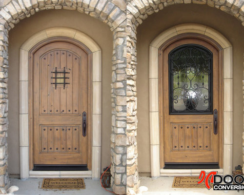Before After Wrought Iron Beveled Glass Door Inserts