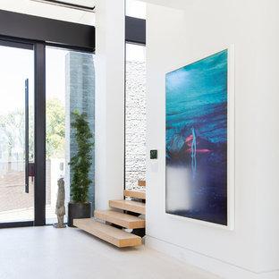 ロサンゼルスの中くらいの回転式ドアコンテンポラリースタイルのおしゃれな玄関ドア (グレーの壁、ライムストーンの床、ガラスドア) の写真