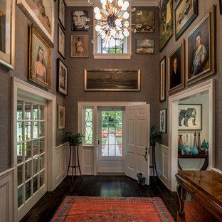 Large elegant dark wood floor and brown floor entryway photo in Wilmington with gray walls and a white front door