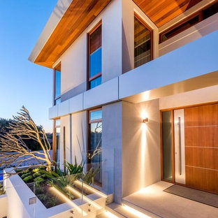 Design ideas for a contemporary front door in Perth with a single front door and a medium wood front door.