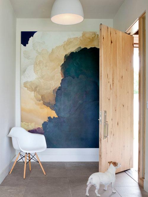 Single front door contemporary single front door idea in denver with a light wood front