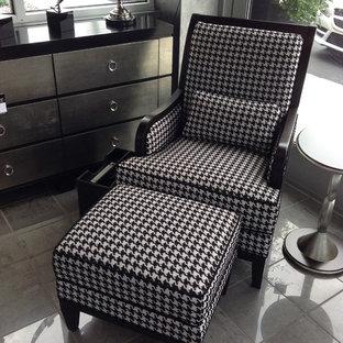 black & white chair & ottoman