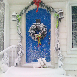 Transitional Entry Blue Christmas door