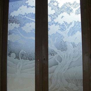 Bonsai Tree & Egret Glass Front Doors