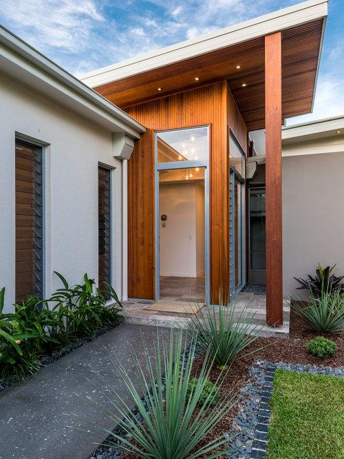 Contemporary Facade Villa Moderne Entryway Design Ideas, Remodels ...