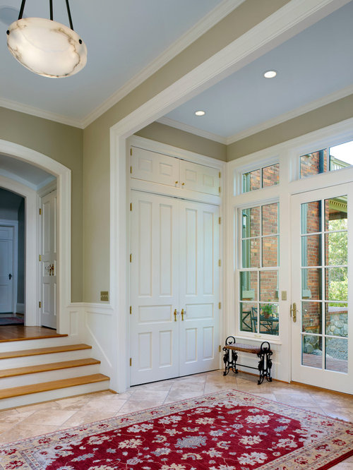 Traditional Beige Floor Entryway Idea In Detroit With Green Walls And A  Glass Front Door