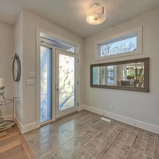 Cette photo montre une grand porte d'entrée tendance avec un mur gris, un sol en contreplaqué, une porte simple et une porte blanche.