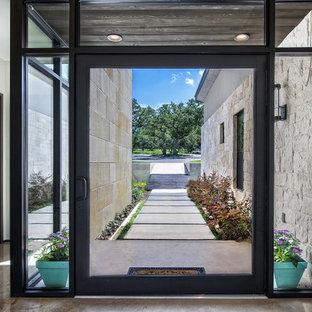 Idées déco pour une porte d'entrée contemporaine avec un mur blanc, une porte pivot et une porte en verre.