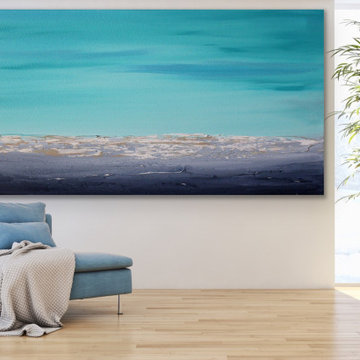Calm waves 72x36 inches Contemporary Beach Large Modern Painting Custom ORDER