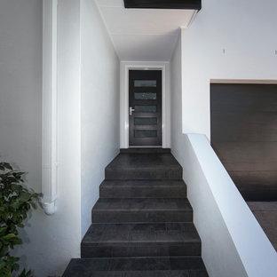 Idee per una porta d'ingresso minimal di medie dimensioni con pareti bianche, pavimento in terracotta, una porta singola e una porta in legno scuro