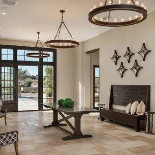Idéer för mycket stora medelhavsstil ingångspartier, med beige väggar, en dubbeldörr, metalldörr och beiget golv