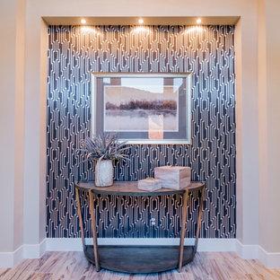 Mid-sized trendy light wood floor foyer photo in Salt Lake City with beige walls