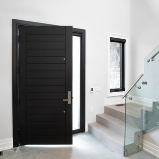 Large minimalist gray floor, porcelain tile and tray ceiling entryway photo in Toronto with a black front door and white walls