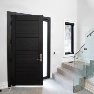 トロントの広い片開きドアモダンスタイルのおしゃれな玄関ロビー (黒いドア、白い壁、グレーの床、磁器タイルの床、折り上げ天井) の写真