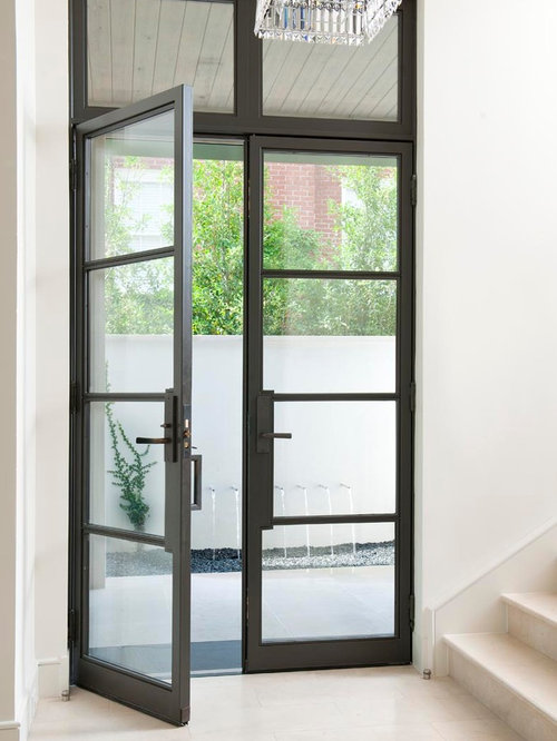 Steel glass doors houzz for Black french doors exterior