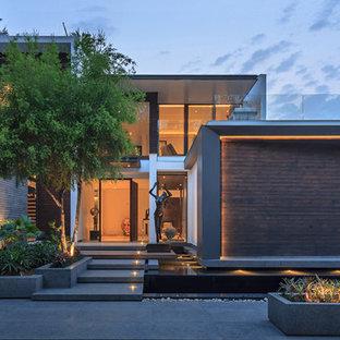 Exempel på en modern ingång och ytterdörr, med bruna väggar, betonggolv, en enkeldörr, mellanmörk trädörr och grått golv
