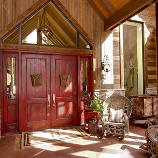 Inspiration For A Rustic Entryway Remodel In Denver With Red Front Door