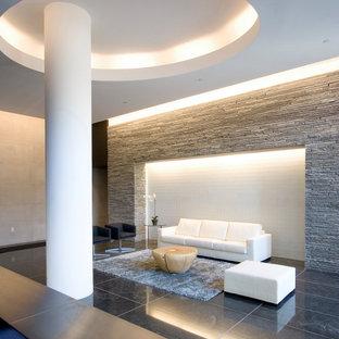 Идея дизайна: фойе среднего размера в стиле модернизм с серыми стенами, мраморным полом, черным полом и кессонным потолком