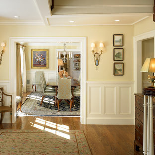 Example of a mid-sized classic light wood floor foyer design in Boston with yellow walls