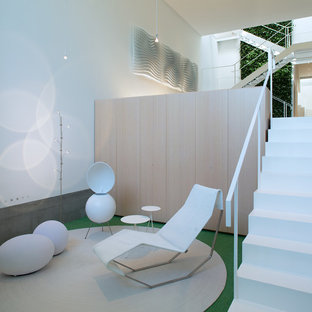 Ispirazione per un ingresso moderno di medie dimensioni con pareti bianche, moquette, una porta a pivot, una porta in legno chiaro e pavimento verde