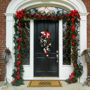 Inspiration for a classic front door in Atlanta with a single front door and a black front door.