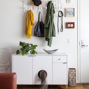 Trendy medium tone wood floor and brown floor single front door photo in San Francisco with a white front door