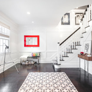 Example of a mid-sized transitional dark wood floor and brown floor foyer design in New York with white walls