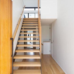 Diseño de puerta principal actual con paredes blancas, suelo de madera clara, puerta simple y puerta de madera en tonos medios