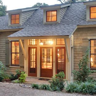 Front door - cottage front door idea in Other with a red front door