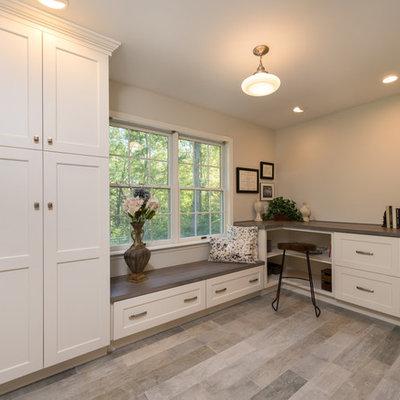 Mudroom - mid-sized cottage porcelain tile mudroom idea in Boston