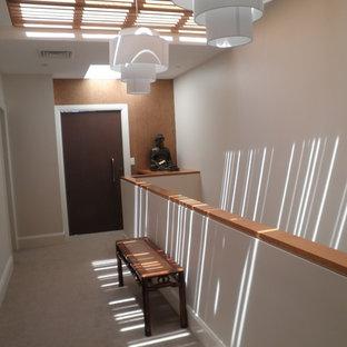 Esempio di un corridoio design di medie dimensioni con pareti beige, moquette, una porta a pivot, una porta in metallo e pavimento beige