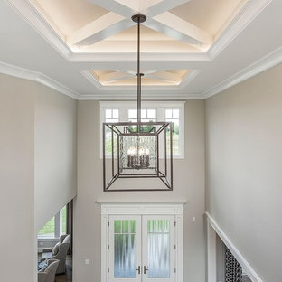 Mid-sized transitional dark wood floor and brown floor entryway photo in Chicago with beige walls and a white front door