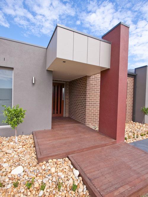 Modern Red Brick And Siding Home Design Ideas Photos