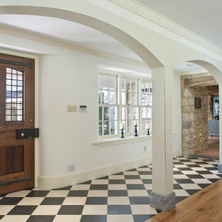 Example Of A Country Marble Floor And Multicolored Single Front Door Design In Philadelphia With