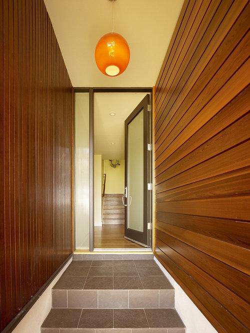 Single front door - modern single front door idea in San Francisco with a glass front & Opaque Glass Door | Houzz
