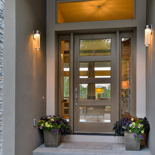 Inspiration for a mid-sized contemporary concrete floor entryway remodel in Denver with gray walls and a glass front door