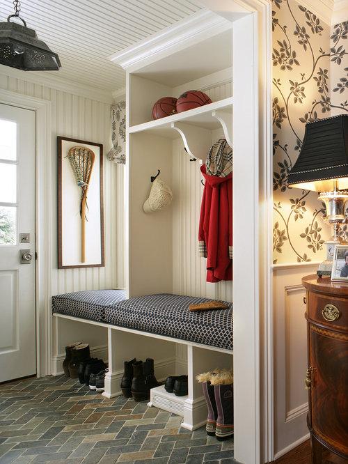 Delightful Mudroom Floor #6: Traditional Brick Floor And Gray Floor Mudroom Idea In New York