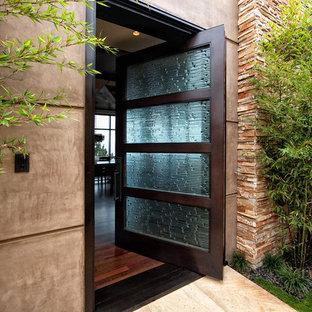 オレンジカウンティの回転式ドアコンテンポラリースタイルのおしゃれな玄関ドア (ガラスドア) の写真