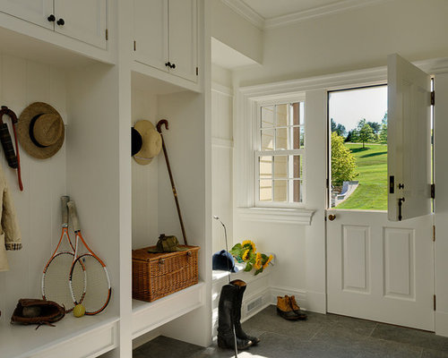 Inspiration for a timeless entryway remodel in New York with a dutch ...