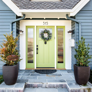 Inspiration for a mid-sized transitional entryway remodel in San Francisco with a green front door