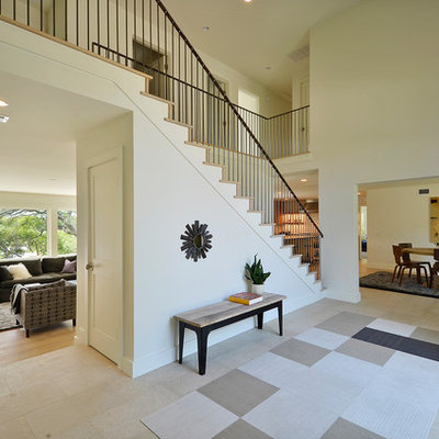 Example of a huge trendy foyer design in Austin