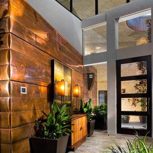 Entryway - contemporary entryway idea in Las Vegas with a glass front door