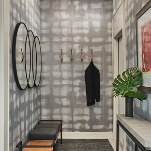 Inspiration for a contemporary entryway in Chicago with grey walls, a single front door and beige floor.