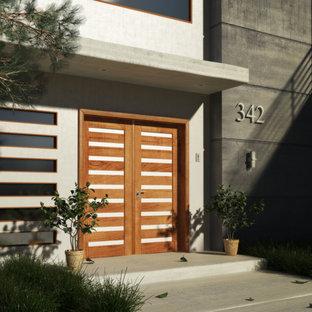Idee per una porta d'ingresso contemporanea di medie dimensioni con pareti beige, pavimento in cemento, una porta a due ante e una porta in legno chiaro