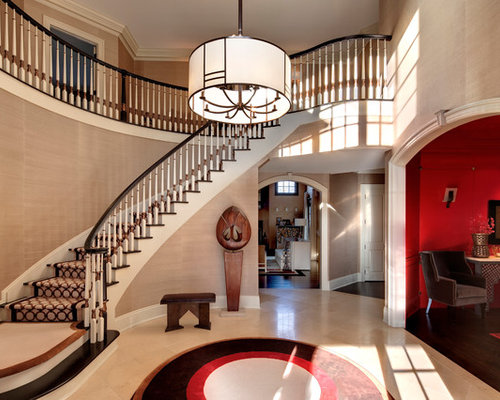 Perfect Example Of A Trendy Foyer Design In New York With Beige Walls