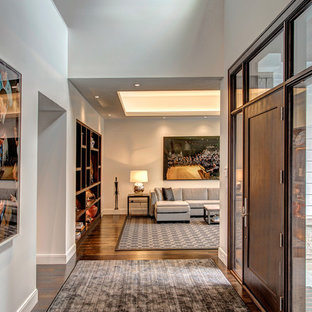 Inspiration for a contemporary dark wood floor and brown floor entryway remodel in Detroit with white walls and a brown front door