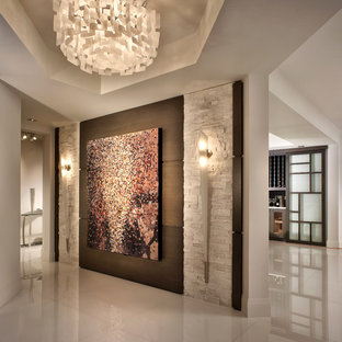 Contemporary foyer in Miami with white walls.